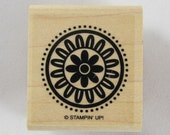 Stampin Up! - Flower in Circle and Dots Rubber Stamp #RS090