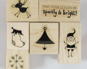 SALE 20% OFF - Stampin Up! - Sparkly and Bright Rubber Stamp Set - RS033