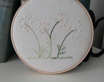 Hoop Art, Embroidered Hoop Art, Dandelion Hoop Art, Wall Decor, Home Decor