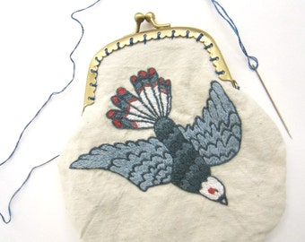 OOAK Hand Embroidered Bird Coin Purse