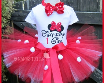 Birthday Girl Minnie with Number, Party Outfit, Tutu Outfit, Theme Party, Birthday Tutu Set in Sizes 1yr thru 5yrs