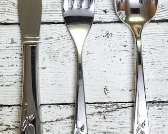 Oneida Community MY ROSE Stainless Teaspoon & Childs Fork Knife Set 1960s Flatware