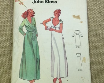 Butterick 6370 Lingerie Nightgown Robe Vintage Sewing Pattern John Kloss UNCUT Misses Size 6 8