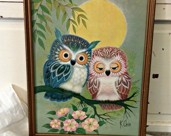 Vintage K Chin Owl Picture