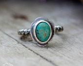 24 HR SALE Sterling silver and Kingman Turquoise Rustic silver stacker ring  - Pointer series -