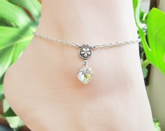 Swarovski Crystal Heart Anklet Chain Ankle Bracelet