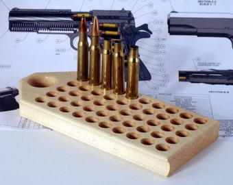 Maple reloading block with deep holes for rifle calibers
