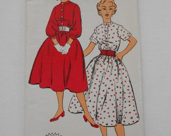 Vintage 50s Front Button Shirtwaist Dress Sewing Pattern New York 1342 Size 15 Bust 33 UNCUT