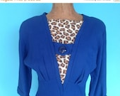 GBYE SUMMER SALE 40s Royal Blue Jeweltone Dress Leopard Accents Wool Fit and Flare Petite Junior Xs Xxs