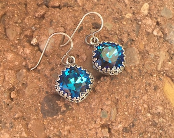 Brilliant Bermuda Blue Swarovski Drop Earrings