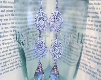 Long Silver Peacock Feather and Mystic Lilac Swarovski Crystal Earrings