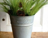 Vintage French Galvanized Metal zinc Florist Vase Flower Display Pail Shabby Chic industrial