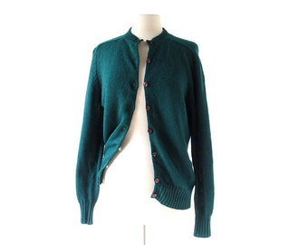 Vintage 60s Cardigan | Waldgrün | Forest Green Sweater | Pendleton Cardigan | M L