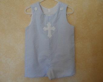 Jon Jon Romper Shortall Sizes 6 mo.-4T  Boy's Easter  Blue seersucker Cross