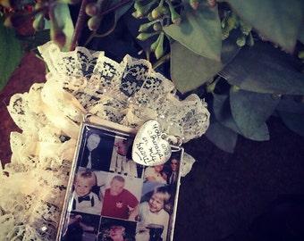 Custom Personalized Extra Large Photo square  Wedding Bouquet Charm for something treasured