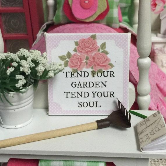 "Tend your Garden Canvas Word Art 2"" x 2"""