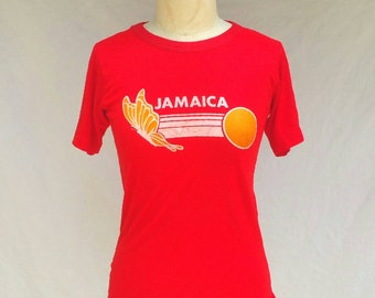 Vintage 1970s Jamaica T-shirt // Neon Red // Unisex