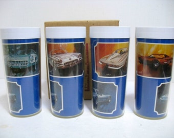 Vintage Set Corvette Car Glasses by Thermo-Serv in Box 1970s Chevrolet Corvette Automobile