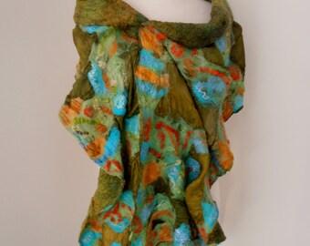 Nuno felted Merino Silk scarf wrap by plumfish green