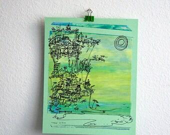 CLIFFHANGER | art decor | California coast | soft blues on mint green | by Kathryn DiLego