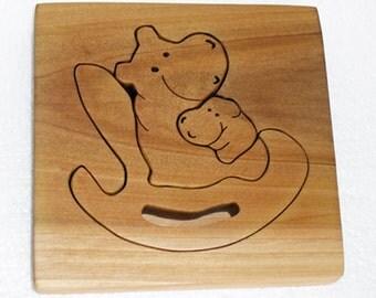 Wooden Waldorf Puzzle with frame, Wooden Toy puzzle, puzzle for Boys and Girls, Children and Toddlers Wooden Puzzle, Hippo, Elephant puzzles