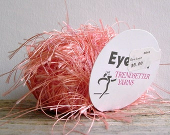 trendsetter eyelash yarn . apricot . 73yds . peach salmon coral fluttery extra long eyelash fun fur novelty component art yarn . destash