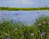 "Original Oil Painting ""The Bay"" 4x4 . 9x9 Double Mount Sandie Coe"