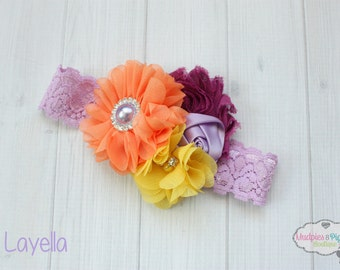 Spring Easter Baby headband { Layella } orange, lavender, fushchia, Lace Fall Headband, first birthday cake smash photography prop