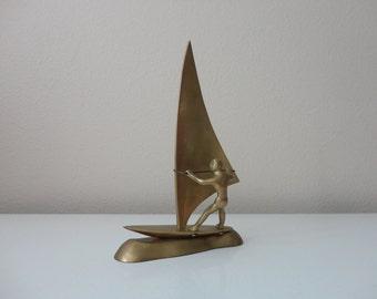 VINTAGE brass wind SURFER FIGURINE