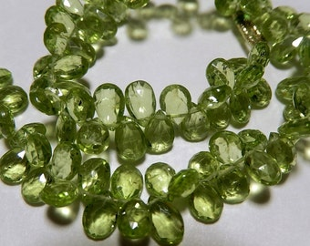 GREEN PERIDOT Gemstone, Faceted Pear Briolette,  Semi Precious Gemstone Briolettes. 7-8mm. Pairs or NonMatching 1 to 5 Briolettes  (mper1).