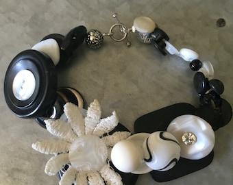 Retro Black & White Vintage Button Bracelet