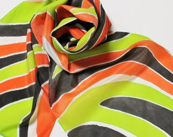 SALE Hand Painted Silk Scarf - Handpainted Scarves Bright Lime Green Citrus Orange Neon Black White Abstract