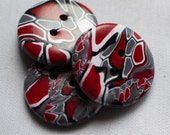 Large Handmade Buttons,  Red, Black, White and Grey Buttton, 1 1/4 inch Button No. 235