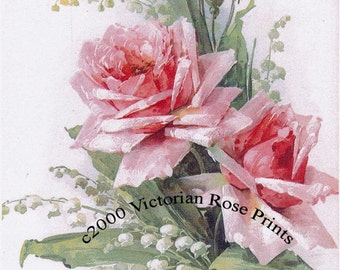 Pink Cabbage Roses Lily of the Valley, Art Print, Catherine Klein, Half Yard Long