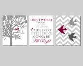 Bob Marley Wall Art - Don't Worry Bout A Thing Bob Marley Lyrics, Chevron Birds, Three Little Birds in a Tree - CHOOSE YOUR COLORS