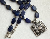 Lapis and Vintage Indian Silver Pendant