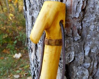 "Mellow Yellow Walking Stick, 50"" tall Wood staff with natural finish and Black Leather Lanyard, handmade Hiking Stick, gift for hiker"