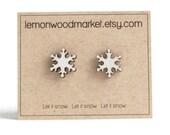 Snowflake earrings - alder laser cut wood earrings - Christmas earrings