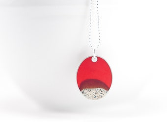 Terrain Necklace blood red resin and cement sterling silver oval