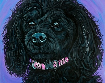 Custom Pet Portrait 12x12inches Dog Painting Acrylic Original Painting Gift Art Dog Portrait