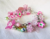 PRETTY PINK BRACELET Soft Pink and Fuchsia Flowers and Butterfly Fancy Charm Style Beaded Bracelet
