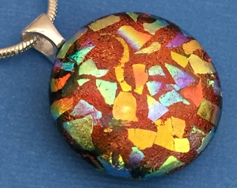 Marmalade - Dichroic Glass Pendant Necklace