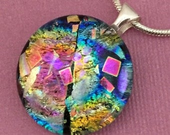 Relativity - Dichroic Glass Pendant Necklace