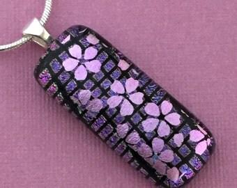 Dichroic Glass Cherry Blossom Pendant Necklace