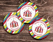 Personalized Circus Party Favor Tags or Stickers – 2 Inch Circles – DIY Printable – Big Top Red (Digital File)