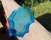 FREE SHIPPING vintage dresser tray blue vaseline glass (Vault 3)