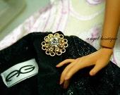 "Swarovski White & Yellow Crystal Magnetic Pin fits 16"" dolls"