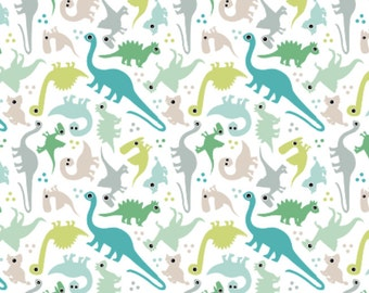 Dinosaur Fabric - Cute Baby Boy Pastel Dinosaur Fantasy Custom Fabric By Little Smile Makers - Cotton Fabric by the Yard with Spoonflower