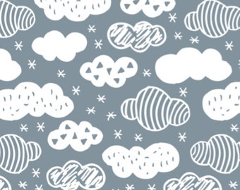 Cloud Fabric - Abstract Geometric Clouds Scandinavian Sky Blue Fabric By Little Smile Makers - Cloud Fabric with Spoonflower - By the yard