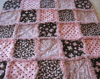 Pink and Brown Paisley, Butterflies, Dots Baby Girl Rag Quilt Blanket 35x35